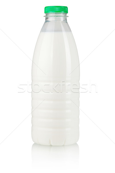 Latte bottiglia isolato bianco vetro mucca Foto d'archivio © karandaev