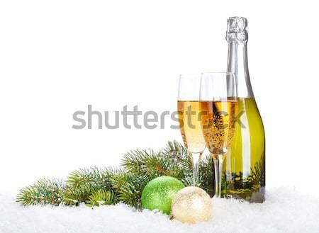 Stok fotoğraf: şampanya · gözlük · şişe · yalıtılmış · beyaz