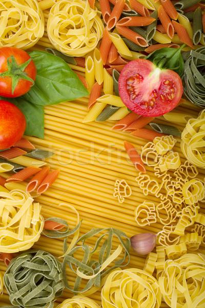 ストックフォト: イタリア語 · パスタ · トマト · バジル · ニンニク