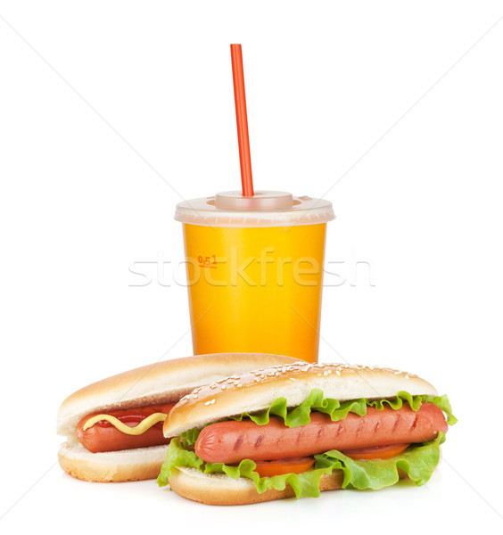 Fast food drink and two hot dogs with various ingredients Stock photo © karandaev
