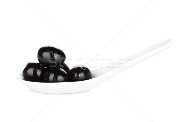 Azeitonas pretas isolado branco comida fundo preto Foto stock © karandaev