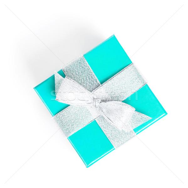 Foto d'archivio: Blu · scatola · regalo · argento · nastro · isolato · bianco