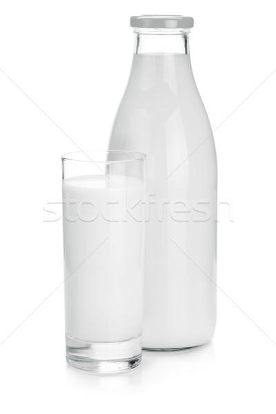 Milk bottle and glass Stock photo © karandaev