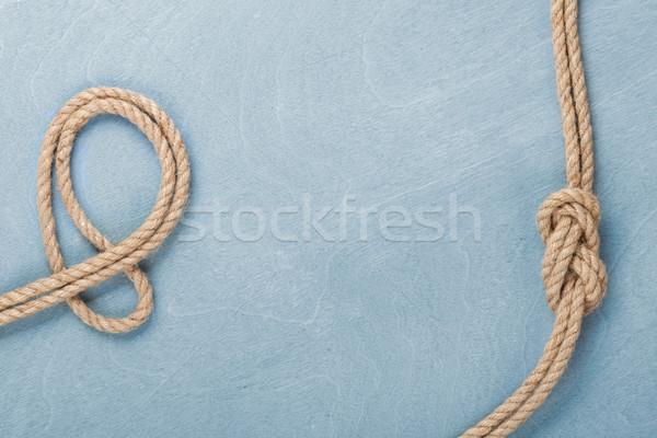 Nave corda nodo legno texture blu Foto d'archivio © karandaev