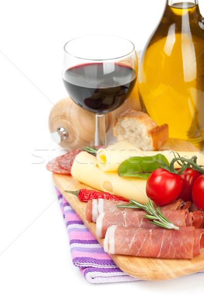 Stockfoto: Rode · wijn · kaas · prosciutto · brood · groenten · specerijen