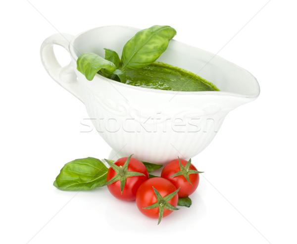 Pesto sos kiraz domates yalıtılmış beyaz mutfak Stok fotoğraf © karandaev
