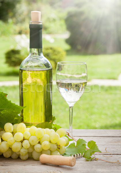 White wine glass and bottle with bunch of grapes Stock photo © karandaev