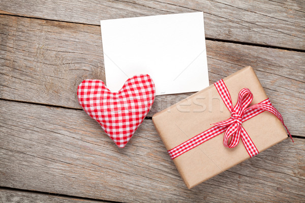 Valentines day toy heart, blank greeting card and gift box Stock photo © karandaev