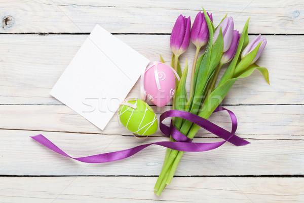 ストックフォト: 紫色 · チューリップ · 花束 · イースターエッグ · グリーティングカード · 先頭