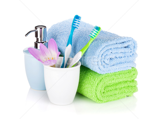 Jabón dos toallas aislado blanco cuerpo Foto stock © karandaev