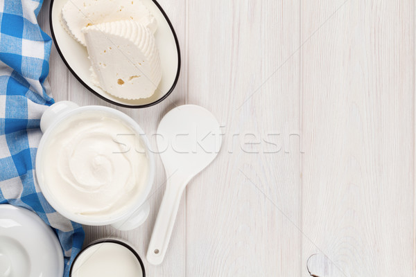 Zure room melk kaas houten tafel top Stockfoto © karandaev