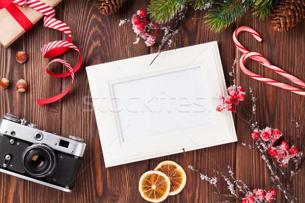 фото Рождества подарок сосна камеры Сток-фото © karandaev