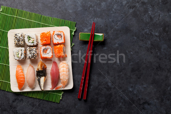 Set of sushi and maki roll Stock photo © karandaev