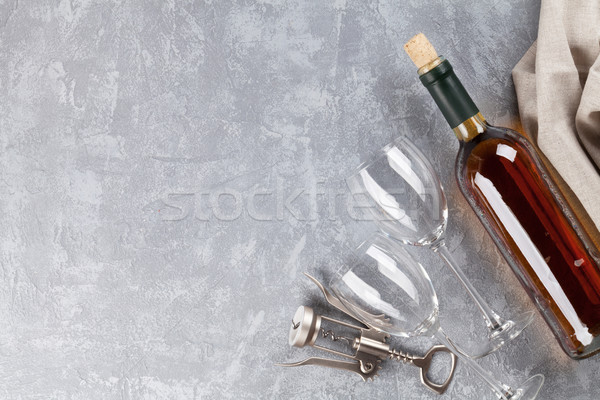 Wine, glasses and corkscrew Stock photo © karandaev