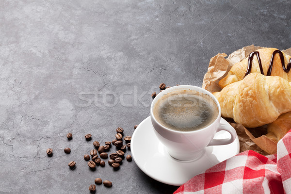 Fresh homemade croissants with chocolate and coffee Stock photo © karandaev