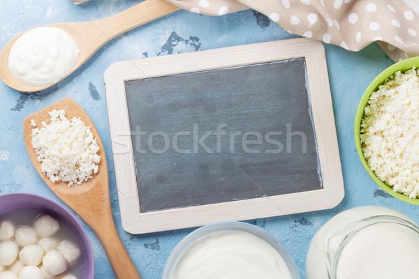 Kamień tabeli śmietana mleka ser Zdjęcia stock © karandaev