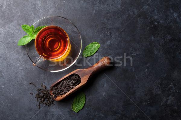 Mint drogen thee lepel steen Stockfoto © karandaev