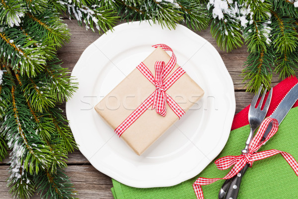 Рождества шкатулке обеда пластина столовое серебро Сток-фото © karandaev