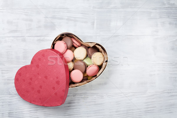 Stock photo: Macaroons in Valentines day gift box