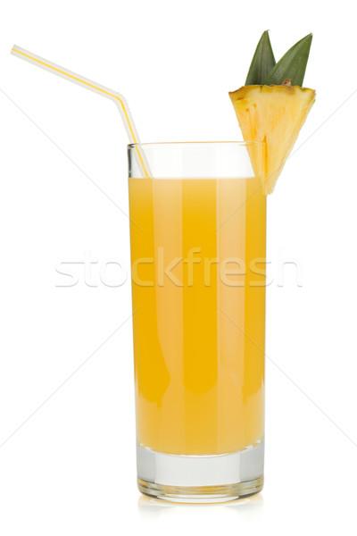 ананаса сока стекла питьевой соломы изолированный Сток-фото © karandaev