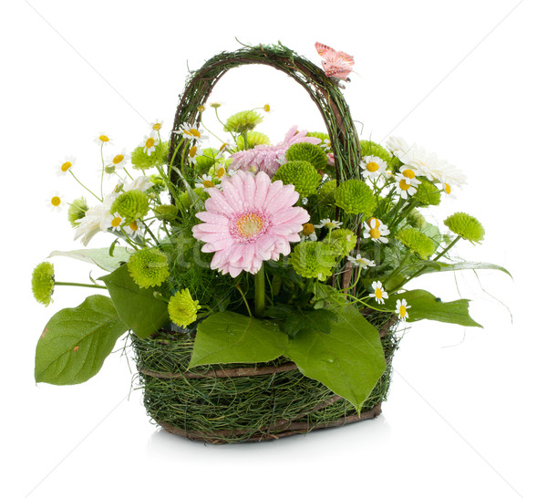 Bouquet of flowers in basket and butterfly Stock photo © karandaev