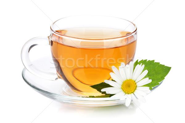 Copo chá de folhas camomila flor Foto stock © karandaev