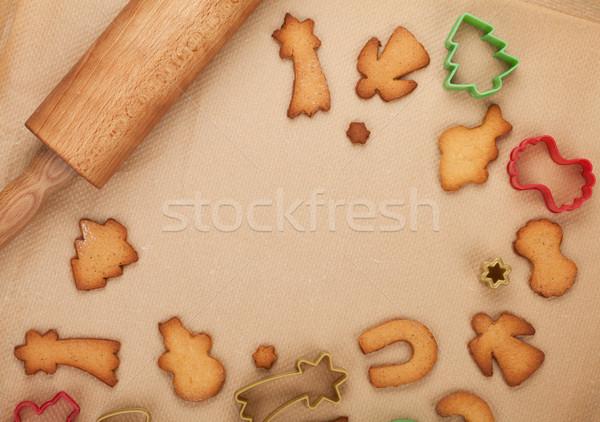 Deegrol peperkoek cookies koken papier exemplaar ruimte Stockfoto © karandaev
