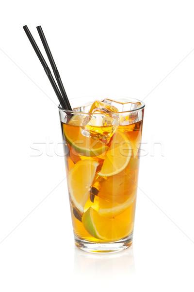 Glass of ice tea with lemon and lime Stock photo © karandaev