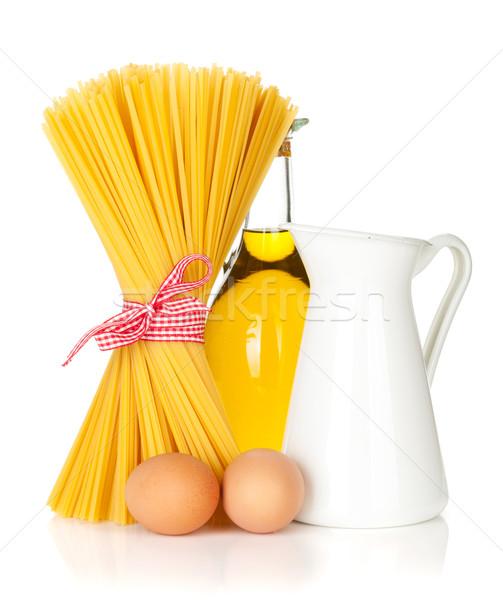 Pasta with eggs, olive oil and milk Stock photo © karandaev
