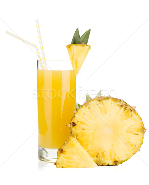 Ripe pineapple and juice glass Stock photo © karandaev