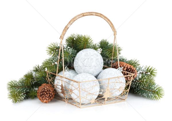 Silver christmas baubles and fir tree Stock photo © karandaev