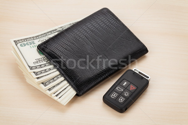 Money cash wallet and car remote key Stock photo © karandaev