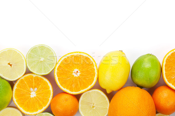 Fruits oranges citrons isolé blanche Photo stock © karandaev