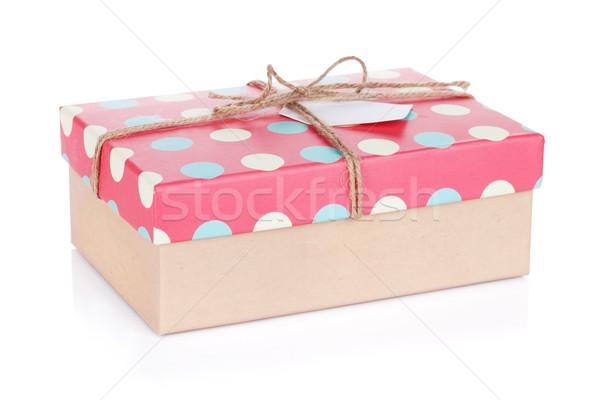 Stock fotó: Retró · stílus · ajándék · doboz · izolált · fehér · papír · fa