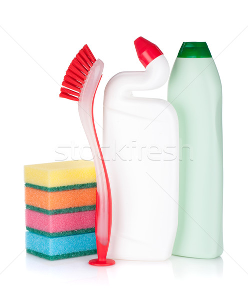 Plastic bottles of cleaning products, sponges and brush Stock photo © karandaev