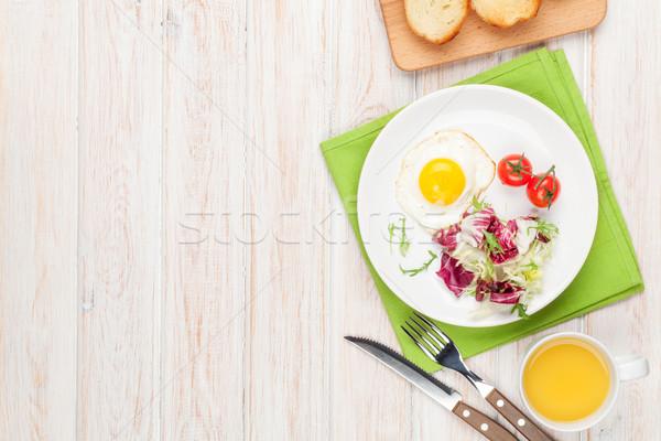 Stockfoto: Gezonde · ontbijt · salade · witte · houten · tafel