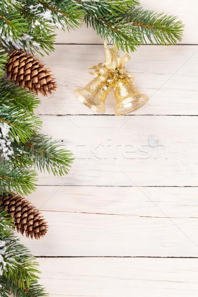 Weihnachten Kiefer Glocke Dekor Holz Kopie Raum Stock foto © karandaev