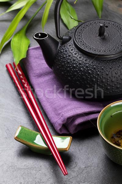 Asia té tazón tetera sushi palillos Foto stock © karandaev