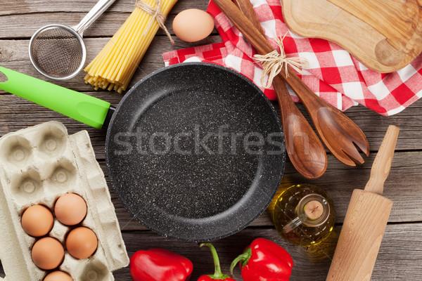 料理 材料 木製のテーブル 先頭 表示 ストックフォト © karandaev