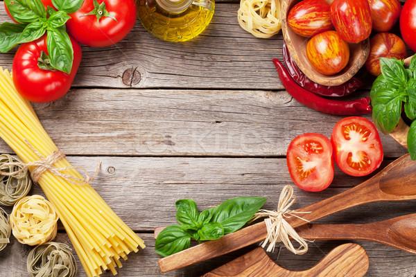 のイタリア料理 料理 トマト バジル スパゲティ パスタ ストックフォト © karandaev