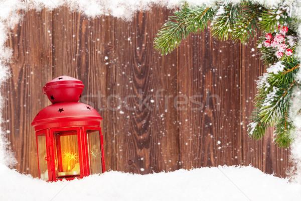 Natal vela lanterna ramo neve Foto stock © karandaev