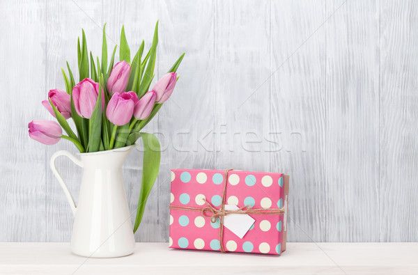 ストックフォト: ピンク · チューリップ · 花 · 花束 · ギフトボックス · 新鮮な