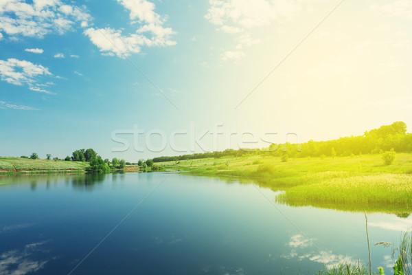 Paisaje estanque colinas soleado verano escena Foto stock © karandaev