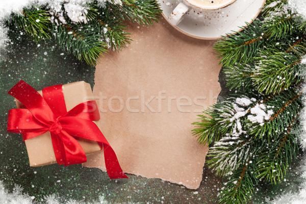 кусок бумаги Рождества кофе рождество Сток-фото © karandaev