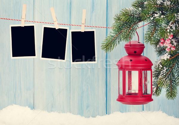 Christmas candle lantern and photo frames Stock photo © karandaev