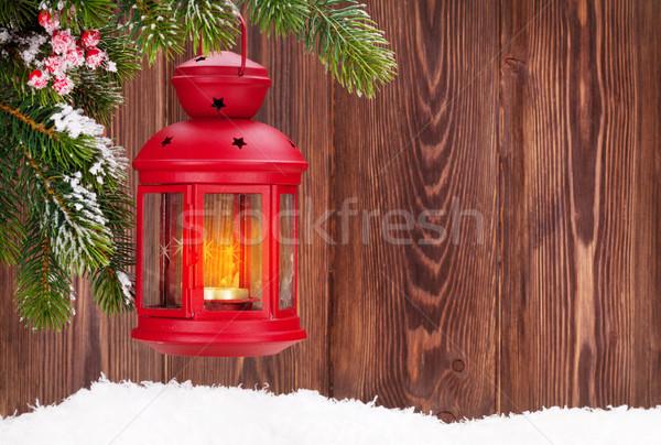 Weihnachten Kerze Laterne Zweig Schnee Stock foto © karandaev