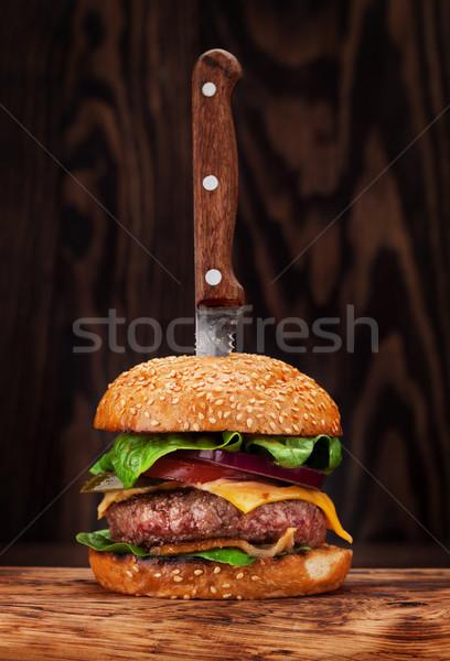 ízletes grillezett házi hamburger marhahús paradicsom Stock fotó © karandaev