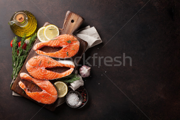 Brut saumon poissons filet épices cuisson Photo stock © karandaev