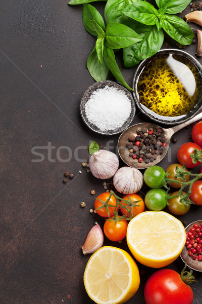 トマト バジル オリーブオイル スパイス 石 表 ストックフォト © karandaev