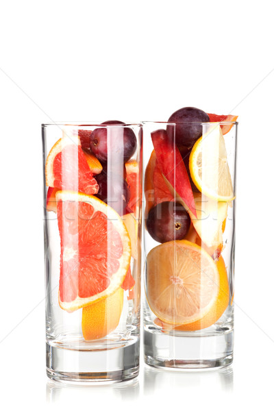 Сток-фото: коктейль · коллекция · фрукты · вино · изолированный